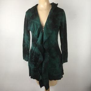 XCVI Knit Tunic Jacket Womens XS Green Tie Dye